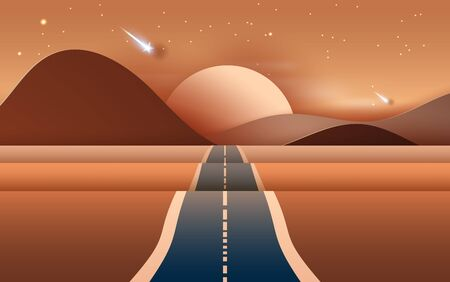 3D illustration of  Landscape with road to mountains across a dry desert.Light starfall at Evening time.Creative design Paper cut and craft by carving of hot summertime show sand dune. Vector. Eps10 Ilustração