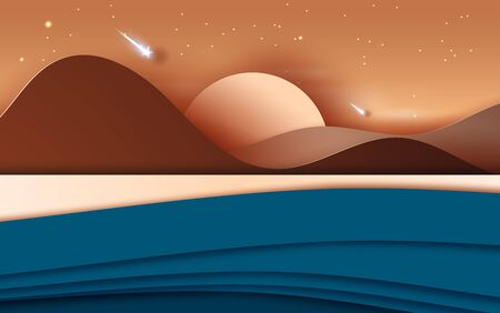3D illustration of  Landscape with mountains and beach sunset time.Light starfall at Evening. Creative design Paper cut and craft by island the summer sea view.Graphic art Vector. Eps10