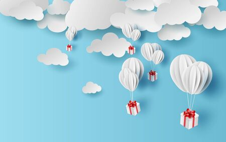 Paper cut and craft of Background with clouds on blue sky.Landscape for sunlight on cloudy.Summer season Hot concept.Summer time by white balloons giftbox floating.Paper art.vector.illustration.EPS10