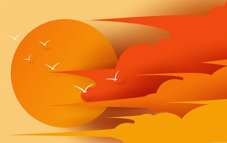 Illustration of cloudscape view and sunset in the evening with summertime season. Beautiful bird fly for sunset scene on orange sky.Creative design digital paper cut and craft style.art.vector. EPS10