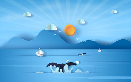 3D illustration of tail whale on sea view sunlight blue sky,Summer time season concept,Boat floating in the sea on blue sky.Graphic design Seaside landscape, Paper craft and cut idea,vector.EPS10 矢量图像