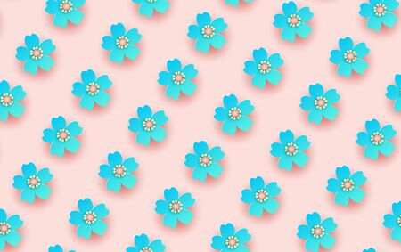illustration of flower pattern background. Creative design paper cut and craft for card,banner, poster, promotion, web.Tropical floral with pastel minimal color sweet. decorative.vector.texture.EPS10