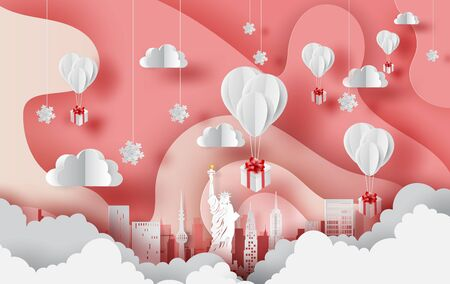 Paper art of white balloons gift floating on Abstract Curve shape pink sky background,winter seasontime concept. City landscape for card and poster. New York city. USA. vector. illustration. EPS10