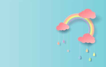 3D illustration of Rainbow in the rainy colorful season. Paper cut design for clouds and rainbow in rain time.Creative idea paper craft by pastel color minimal style on blue background. vector. EPS10.