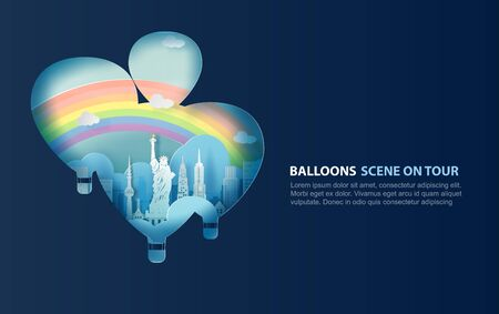 illustration of Liberty Statue balloons scene concept on blue sky background. USA modern landmark design.Creative paper cut and craft by United States of America for card and poster.rainbow.vector