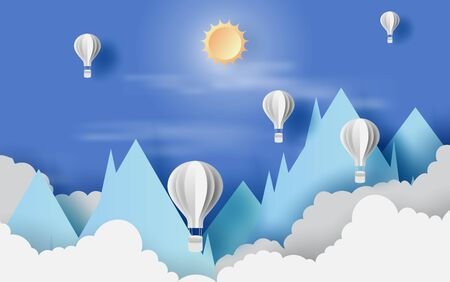 Illustration of cloudscape mountain view  with hot air white balloons float up in the blue sky sunlight on paper art. Landscape view scene for vacation in holiday. Paper cut and craft. vector EPS10 Illustration