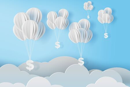 illustration of balloon fly with dollar sign on blue sky. Business and management concept idea.Creative design paper cut and craft style scene for your text.By pastel color.Financial exchange.vector Standard-Bild - 134902703