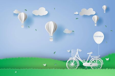 illustration concept of Bicycle in the garden park with hot air balloons.Creative design digital paper craft and art style.Landscape view summer season blue background.white decoration holiday.vector Standard-Bild - 134902704