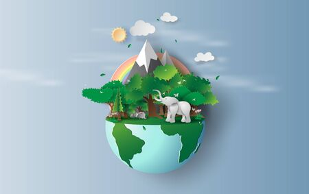 illustration of elephant in green trees forest,Creative Origami design world environment and earth day concept idea.Landscape Wildlife in green nature plant by rainbow pastel.paper cut,craft.vector Illustration