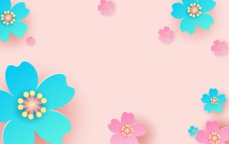 illustration of flower pattern background. Creative design paper cut and craft for card,banner, poster, promotion, web.Tropical floral with pastel minimal color sweet. decorative.vector.EPS10