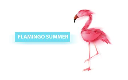 Summer banner with flamingo on white background,Minimal simple design for poster, flyer, invitation, card, web site or application smartphone. Creative design Paper cut style,vector illustration EPS10 Иллюстрация