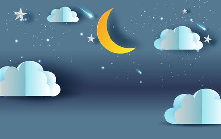 Scene Sky fantasy.Cloud and shooting star on Sky night sweet dream your text space blue dark background.Panorama moon half with midnight. Mystical.Creative design paper cut,craft vector.illustration.