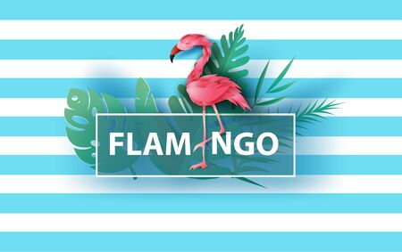 Sale Summer banner with flamingo on blue background,Minimal simple design for poster, flyer, invitation, card, web site or application smartphone. Creative design Paper cut style,vector illustration