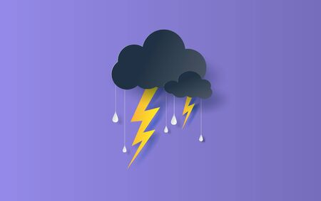 Illustration of Cloud and rain season on sky dark background.Overcast sky and  thunderbolt lightning.Creative design paper art and craft concept.Origami rainy weather forecast water drop.vector Çizim