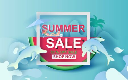 Summer Sale Banner With Watermelon.Special Offer Creative design paper cut and craft for card and poster colorful. Holiday woman sunbathing and dolphin Happy enjoy concept.Vector Illustration EPS10