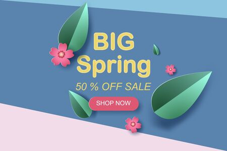 Web Frame with red flowers and leaf for spring season sales banners.Creative paper cut and craft style for scene place your text card.Minimal colorful special template concept.vector illustration. Ilustração