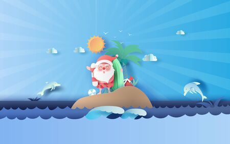 Santa Claus smile wearing beach suit travel swimming decoration of island seascape view. Dolphin jumping wildlife on sea sky beautiful.Summer Christmastime season background.Paper cut and craft style. 向量圖像
