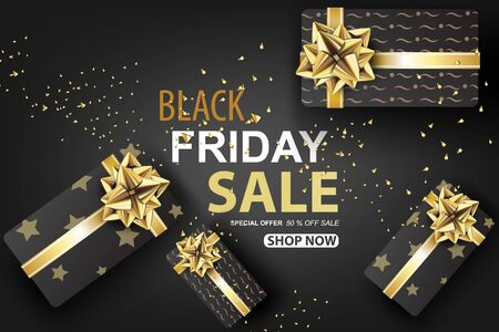 Black Friday sale with Gift box on gold glitter background banner.Creative paper cut and craft Minimal Top view style.Festival marketing promotion season.Special offer card Vector illustration. EPS10