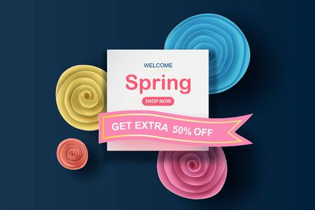 Spring sale background with beautiful colorful flower roll circle.Creative design paper cut and craft style for banner and poster.floral blossom frame shopping holiday concept.Vector illustration