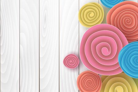 Horizontal banner on old white wood background design.Creative design Origami paper cut and craft style with flowers roll circle,Frame for advertising magazines and websites.Vector illustration.EPS10 Ilustração