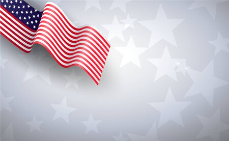 USA American waving flag Happy 4th of July background.Independence day Banner holiday in United States of America. Abstract stars light gray template.illustration for celebration element vector.EPS10 Ilustração