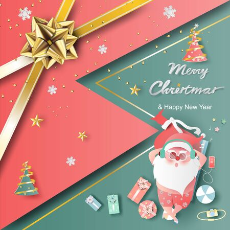 Summer Santa Claus Christmas day July.Delivery service concept cute cartoon character for Xmas design on greeting card background.Creative paper cut and craft style.web minimal vector illustration  Illustration