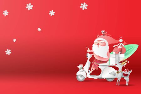Summer Christmas season.Online shopping your text space background.Santa Claus Delivery services concept.Creative paper cut and craft style for banner.Holiday transport express vector.illustration.