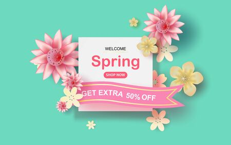 Paper cut and craft of Floral rectangle frame with place for text. Spring season concept with flowers blossom of pastel sweet tone color.Lovely flowers with colorful frame.vector illustration EPS10