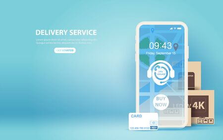 illustration of smartphone with Online delivery service application concept.Creative Paper cut and craft style on blue background.Graphic minimal map location order box transport.technology Vector