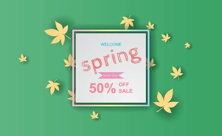 Spring season of Fresh green leaves border.Abstract Spring sale offer banner with frame concept,Paper cut and craft minimal pastel background,template scene place for your text.vector.illustration
