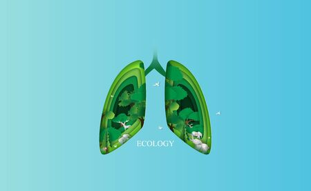 Lung ecology concept idea. Environment health medical human background.Creative design paper cut and craft style with forest and animal.Eco forest oxygen template.minimal pastel.vector illustration
