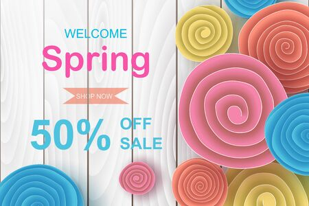 Horizontal spring sale banner design.Creative design Origami paper cut and craft style with flowers roll circle for online shopping,Frame for advertising magazines and websites.Vector illustration. Ilustração