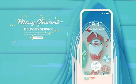 Santa Claus is swimsuit on general cargo ship of gift boxes and Swimming equipment. Sea ocean waves surface layer.Creative paper cut and craft smartphone concept.Delivery service Vector illustration