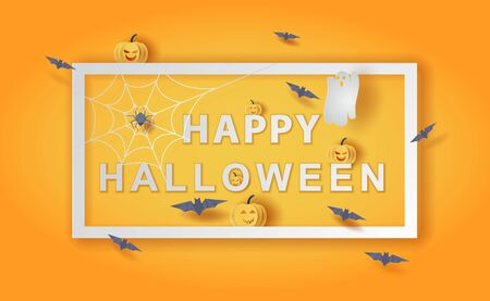 Happy Halloween background.Holiday enjoy funny horror party template.Creative minimal paper cut and craft style scene place of your text.Festival sale with bat and pumpkin frame concept.vector EPS10