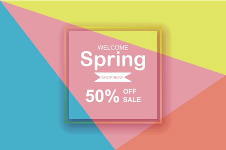 Spring season sale background with beautiful colorful.Creative design element paper cut and craft style for poster and template.Modern graphic frame minimal color.Holiday gift banner concept.vector