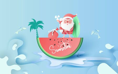 Summer Christmas Sale Banner With Watermelon.Special Offer Creative paper cut and craft for card and poster.Santa Claus smile wearing beach suit travel swimming decoration palm tree concept.Vector