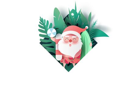 Santa Claus smile wearing beach suit of Tropical leaves and nature plants.Paper cut and craft frame Hawaiian style summertime space for text.Summer Christmas season background.vector illustration.
