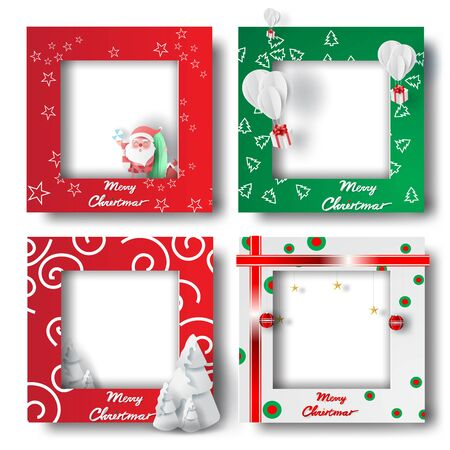 Summer Merry Christmas and Happy new year border frame photo design set on transparency background.Creative origami paper cut and craft style.Holiday gift card.Winter Postcard vector illustration