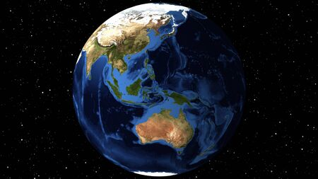 illustration of Beautiful rotating Earth. View from Space Satellite.World Asia ground map day time.Close up from Animation planet at day time.3D Rendering animation