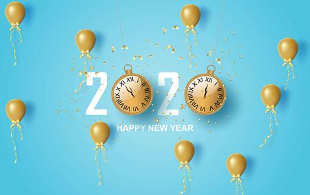 illustration of 2020 happy new year label design.Holiday on pastel symbol with golden.Merry Christmas old vintage clock gold and golden confetti on blue background.Paper cut and craft style.vector