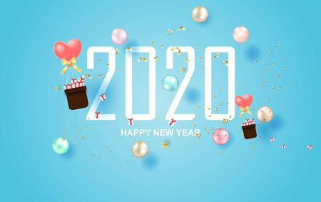 illustration of 2020 happy new year label design.Holiday on pastel symbol with golden.Graphic Merry Christmas balls golden and colorful confetti on blue background.Paper cut and craft style.vector