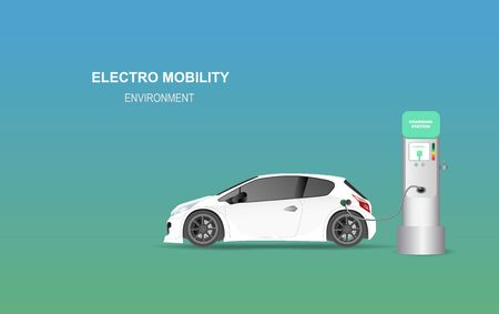 illustration banner with electric car charging station. Electro mobility environment for map location network concept.Green Clean energy transport.Creative paper art and craft style vector EPS10