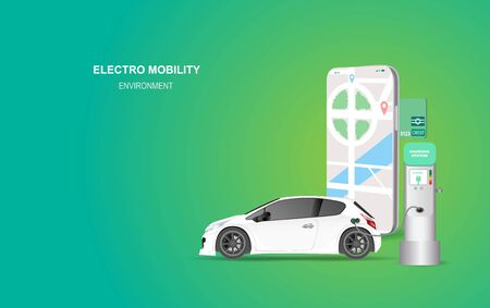 illustration smartphone banner with electric car charging station. Electro mobility environment for map location network concept.Green Clean energy transport.Creative paper art and craft style vector