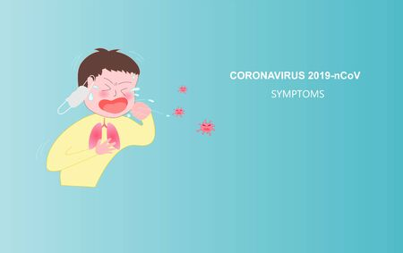 Coughing Cartoon Character of Coronavirus (Covid-19 or 2019-ncov).Symptoms and infected person.Pathogen virus. Prevention against Virus and Infection Concept.Cartoon cute Vector Illustration.