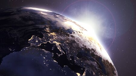 illustration of View angle Beautiful Sunrise over the Africa and Europe Earth.Changing from City light Night to Day time.3D Motion Rising Shining.