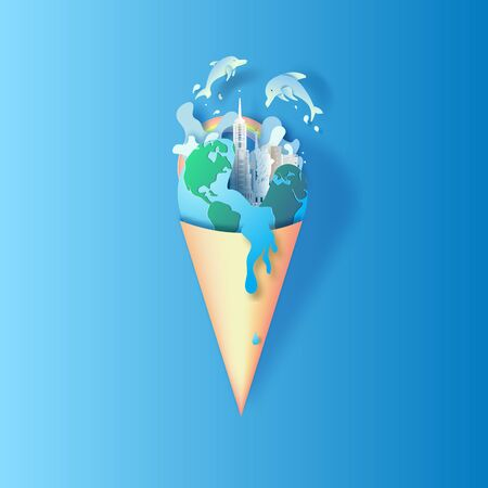 Paper art and cut style of World Oceans Day. Celebration dedicated to help protect sea earth and conserve water ecosystem. Blue tone origami craft paper of ice cream concept. fish and plants under sea