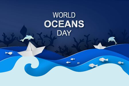 Paper art and cut style concept of World Oceans Day. Celebration dedicated to help protect sea earth and conserve water ecosystem. Blue tone origami craft paper of sea waves. Paper boat on sea Ilustração