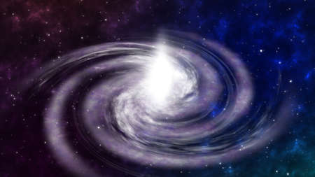 Screen Flying to Rotating Spiral Galaxy Space Floating Space Background. Deep space exploration. travel near big in star fields and nebula. Barred Spiral Galaxy Turning in the Universe Stars. motion