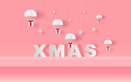 Xmas of Stage mock up Parachute gift box fly air paper cut and craft style. Merry Christmas and Happy new year. Hanging snowing with Holiday winter snow season Simple minimal pink pastel background