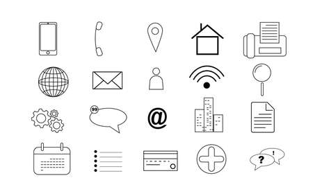Icons Business for Card and web. Thin Line symbols simple set. business finance card contact information. Info dotted signs. Mobile contact us apps on white background. social media network. Illustration